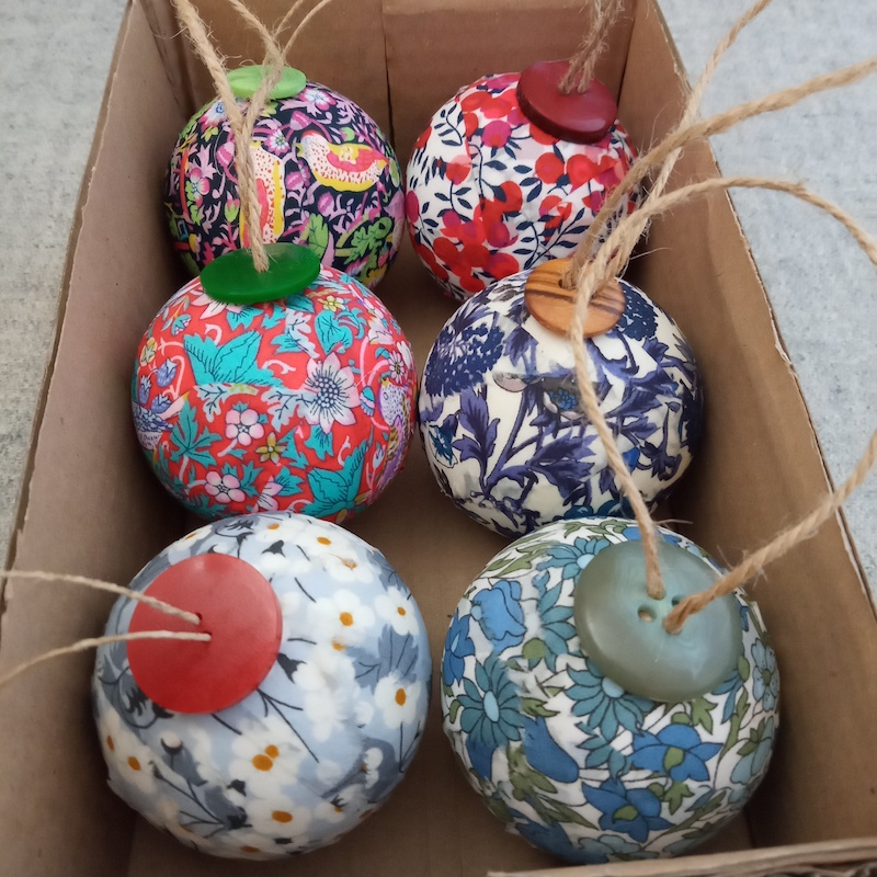 six Liberty baubles birds and blue flowers