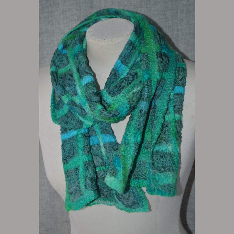 Green Nuno Silk Scarf