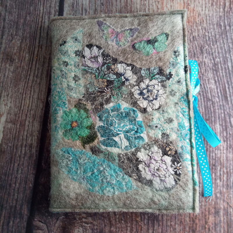 Nuno Felted A5 Journal (turquiose & green)