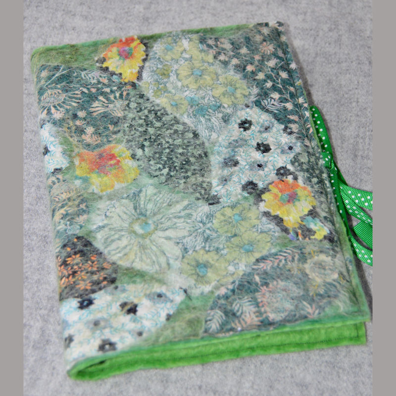 Nuno Felted A5 Journal (green & yellow)