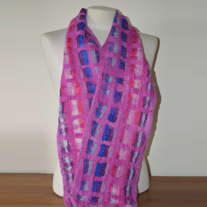 Pink, Blues & Purple Nuno  Silk Scarf